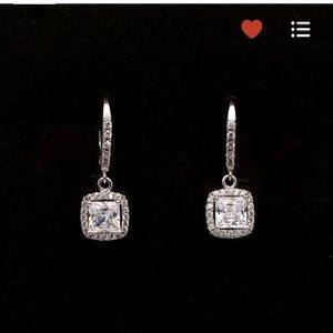 Wedding Bride Princess Cut Square Drop Earrings